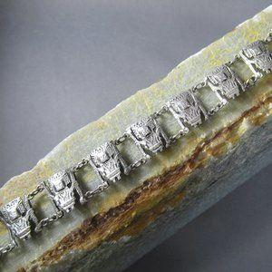 Inca Sun God Bracelet, Peruvian Fine Silver Inti